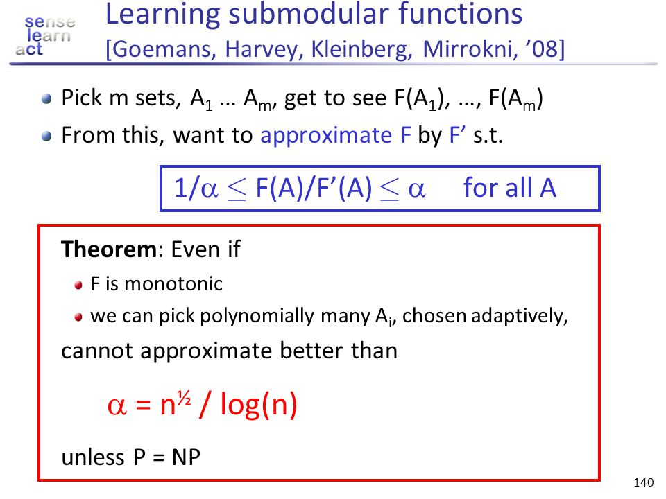 Learning submodular functions [Goemans, Harvey, Kleinberg, Mirrokni, '08]